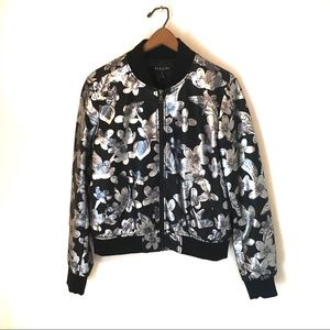 Floral Bomber Jacket Vegan Leather NWT Size M